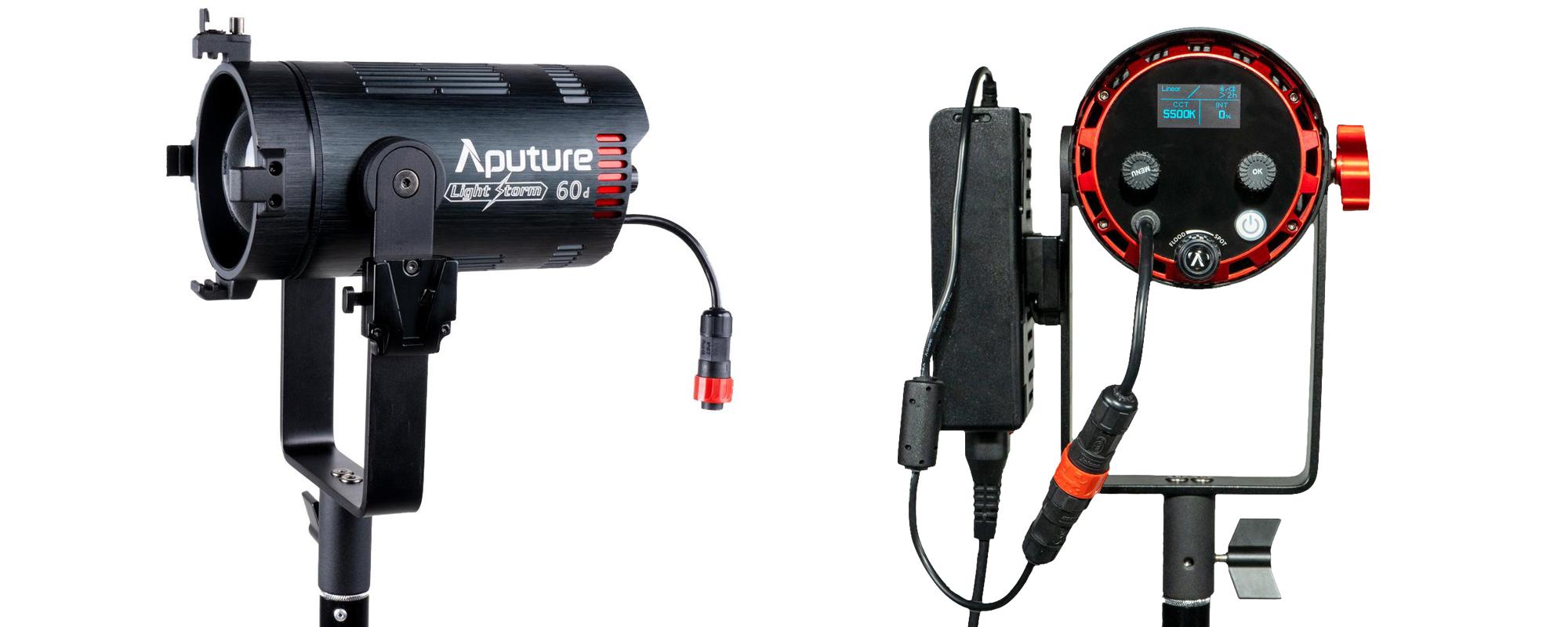 Lampa LED Aputure Light Storm LS 60d z przodu i z tyłu