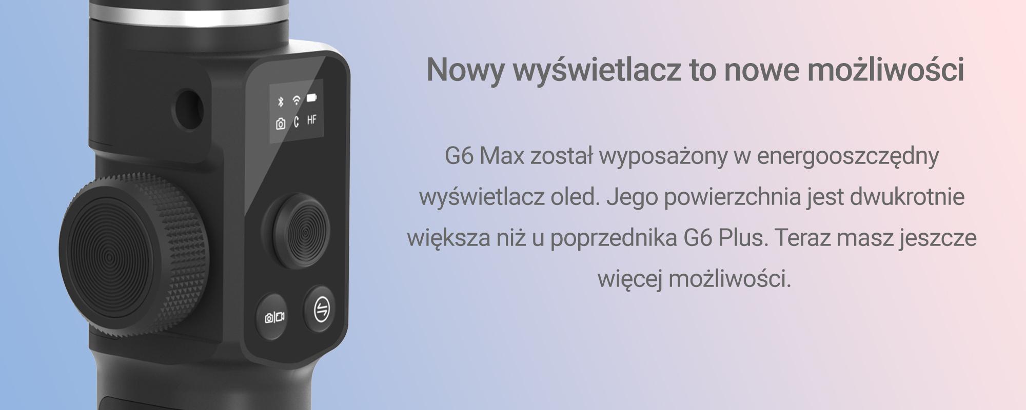 Grafika pokazującą wyświetlacz G6 MAX