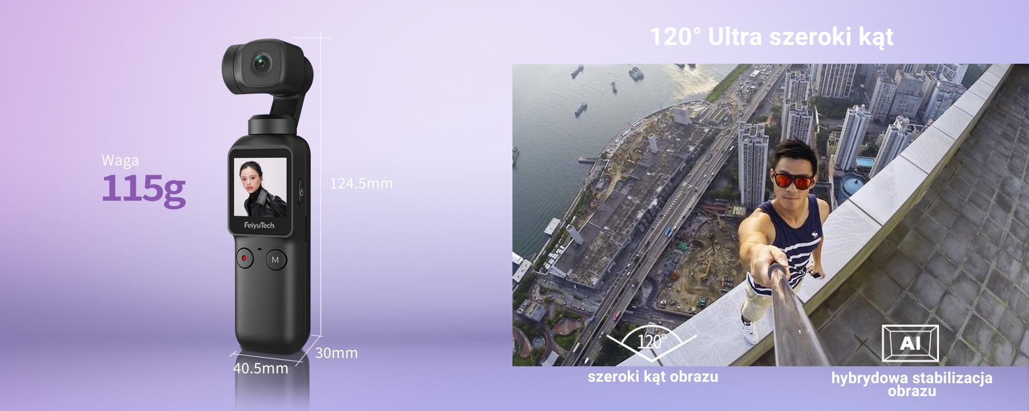 Grafika pokazująca wymiary kamery i obraz szerokokątny