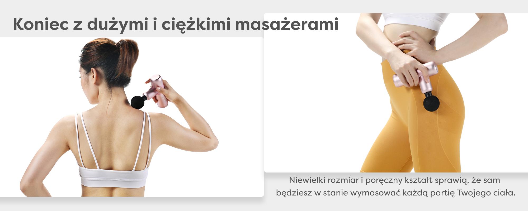 Grafika przedstawiająca kobietę używającą masażera. Niewielki rozmiar i poręczny chwyt umożliwia automasaż
