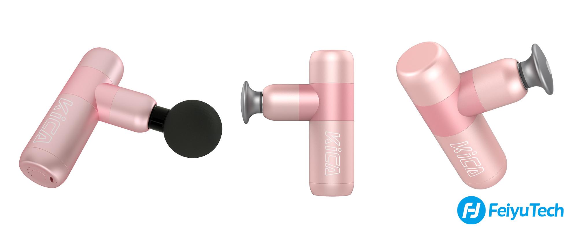 Grafika przedstawiająca masażer Kica K2 w kolorze różowym z różnych perspektyw