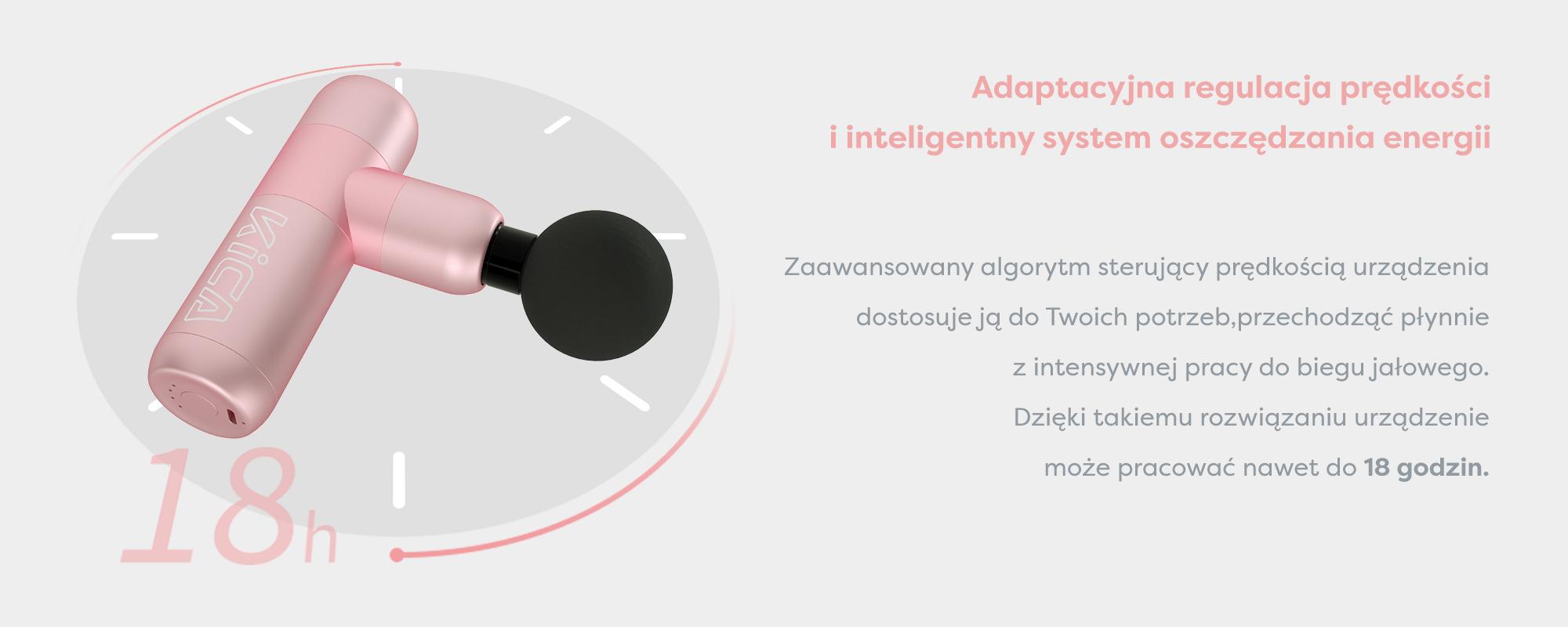 Grafika przedstawiająca masażer Kica K2 i opis zaawansowanego algorytmu sterującego prędkością urządzenia, który pozwala oszczędzać energię i umożliwia pracę do 18 godzin