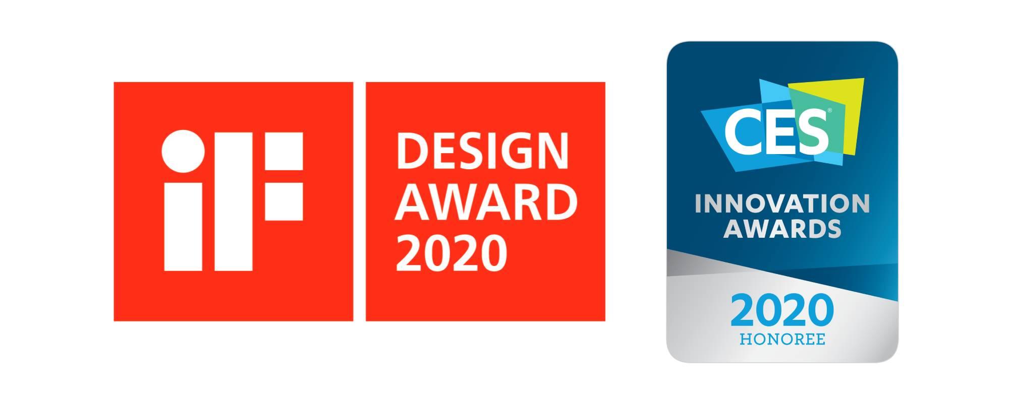 Logo iF Design Awards 2020 oraz CES Innovation Awards 2020, nagród zdobytych przez kamerę konferencyjną Kandao Meeting 360