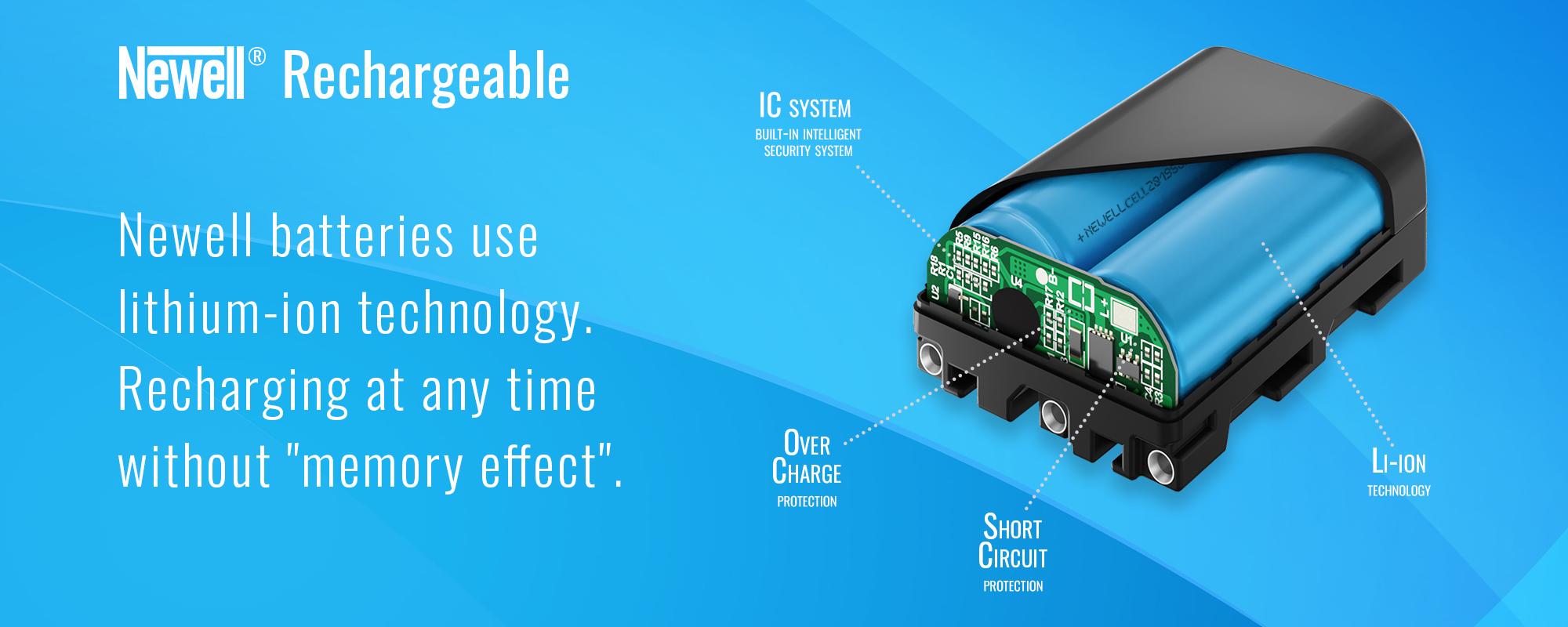 akumulator litowo jonowy na niebieskim tle newell rechargeable batteries