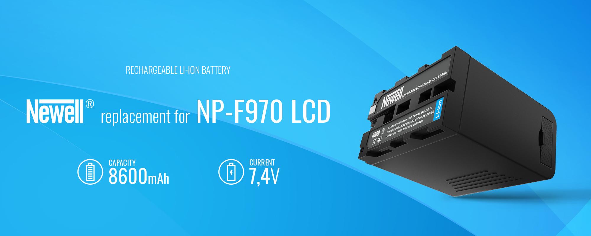 akumulator litowo jonowy na niebieskim tle NP-F970 8600mAh 7,4V Newell