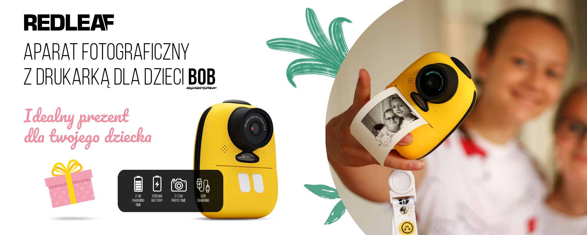 Aparat fotograficzny z drukarką dla dzieci Redleaf BOB - grafika prezentująca idealny prezent dla dziecka