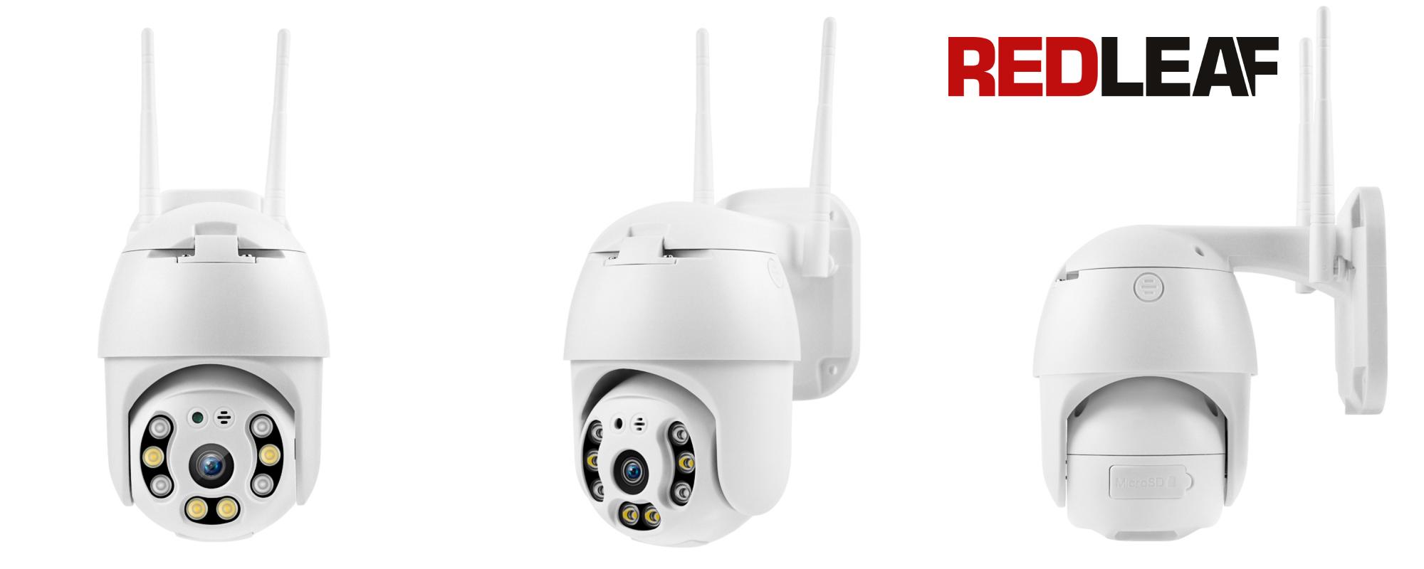 Kamera WiFi do monitoringu Redleaf IP Cam 1000 widok z przodu, pod kątem i z boku