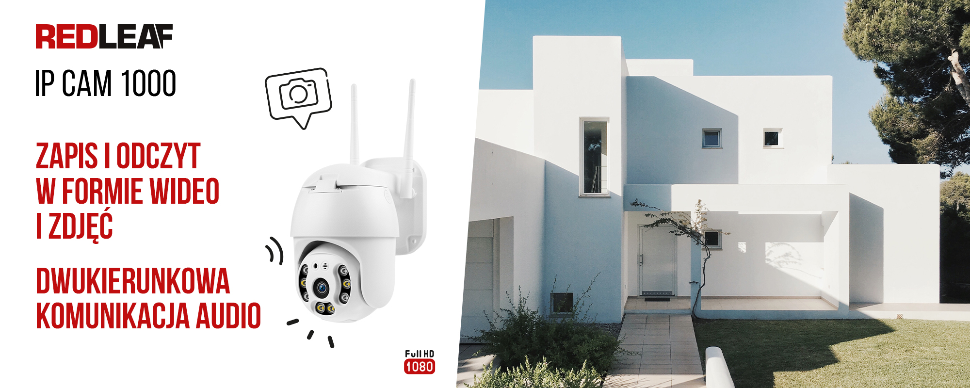 Kamera WiFi do monitoringu Redleaf IP Cam 1000 - grafika przestawiająca kamerę i dom