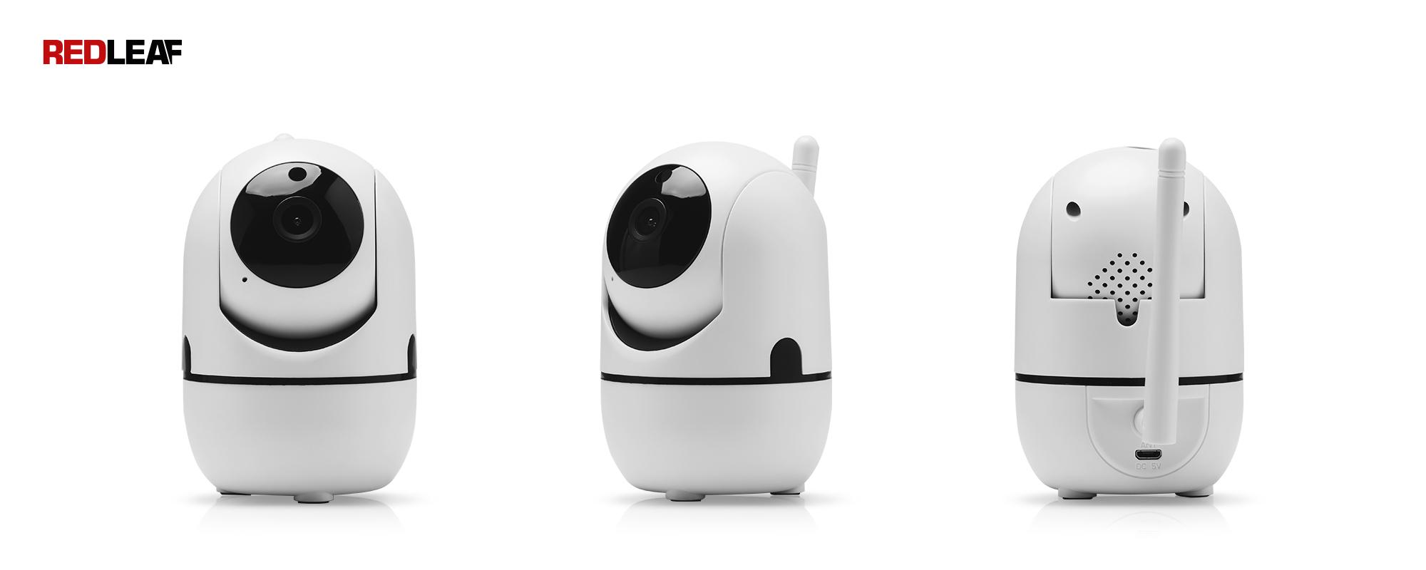 Kamera WiFi do monitoringu domu Redleaf IP Home Cam 100 widok z przodu, pod kątem i z tyłu