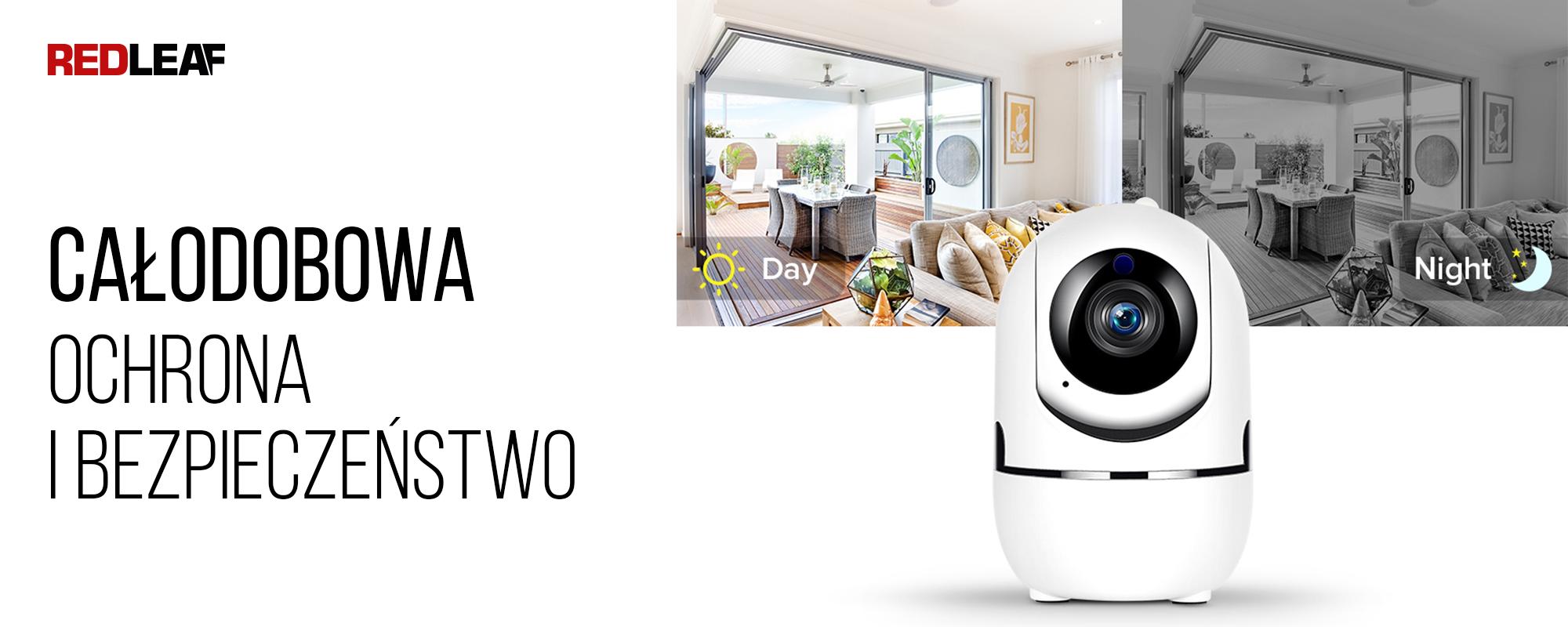 Kamera WiFi do monitoringu domu Redleaf IP Home Cam 100 widok rejestrowany w ciągu dnia i w nocy