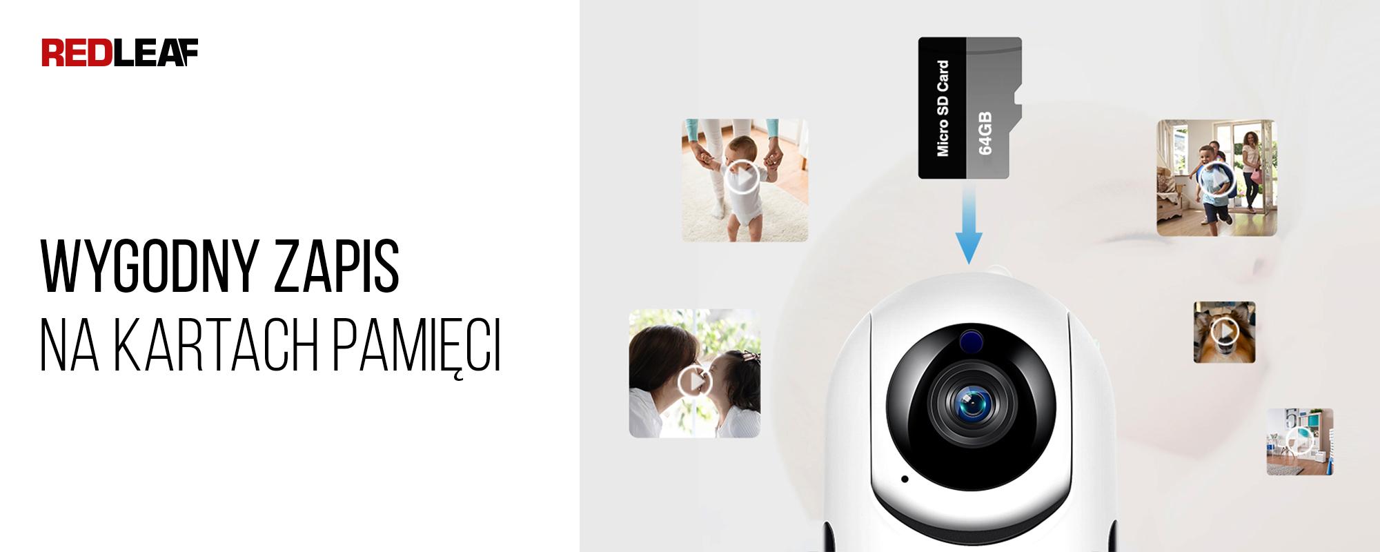 Kamera WiFi do monitoringu domu Redleaf IP Home Cam 100 oraz karta pamięci 64GB i pliki wideo