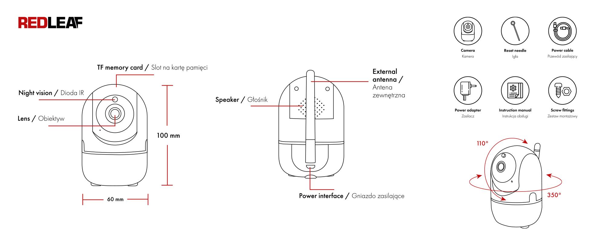Kamera WiFi do monitoringu domu Redleaf IP Home Cam 100 opis urządzenia i zawartość zestawu