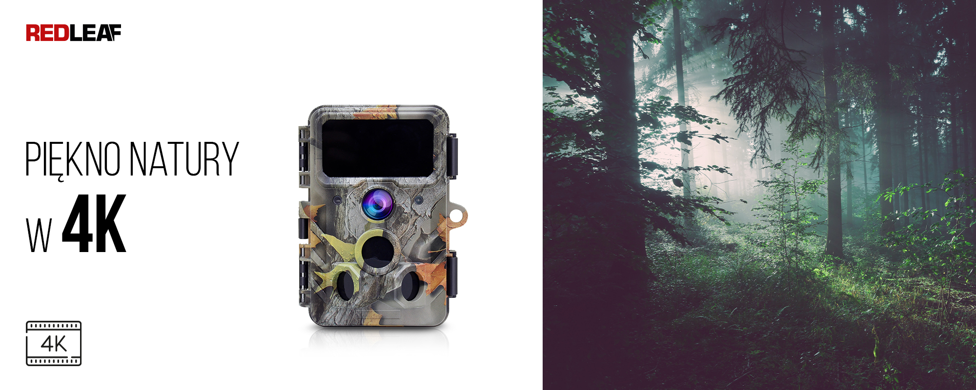 Kamera obserwacyjna Redleaf RD3019 Pro oraz światło przebijające się między drzewami