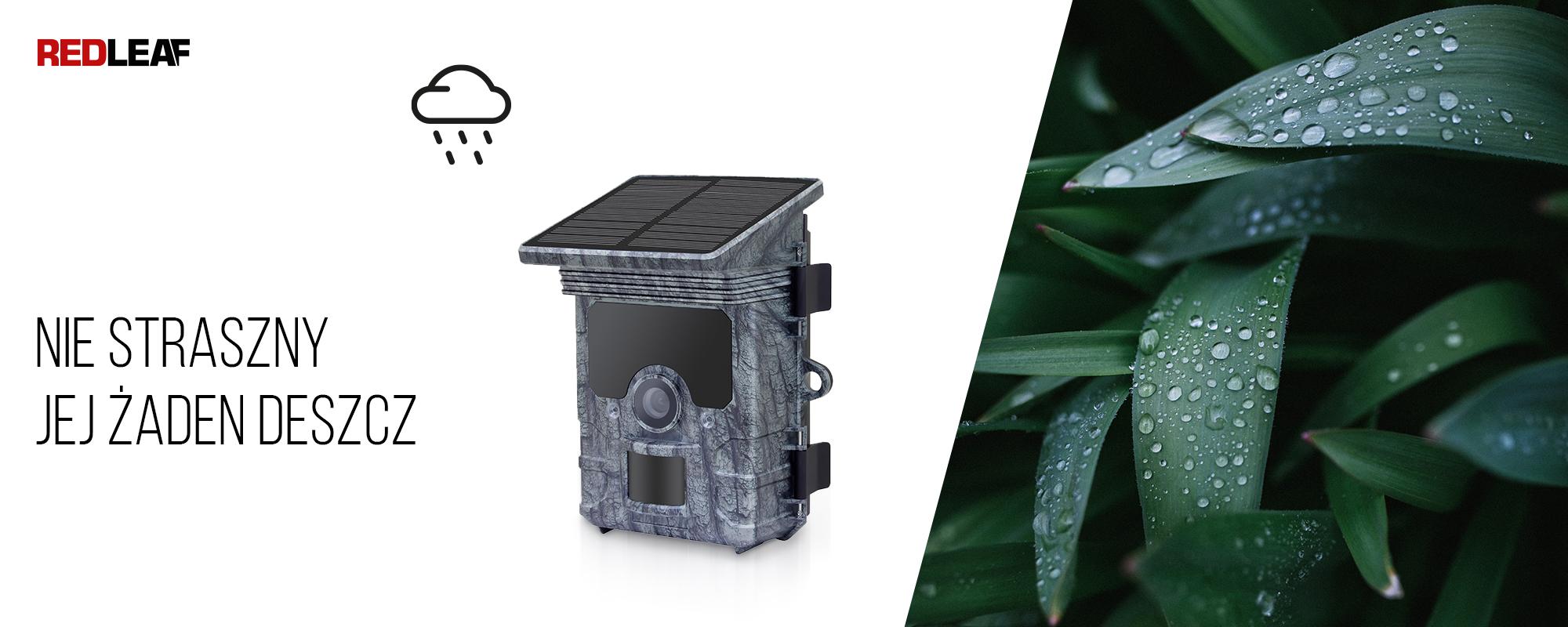 Kamera obserwacyjna z panelem słonecznym Redleaf RD7000 WiFi oraz rośliny pokryte kroplami wody