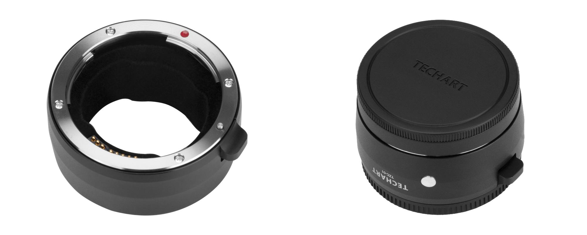 Adapter bagnetowy Techart TZC-01 - Canon EF / Nikon Z widziany pod kątem z dekielkiem