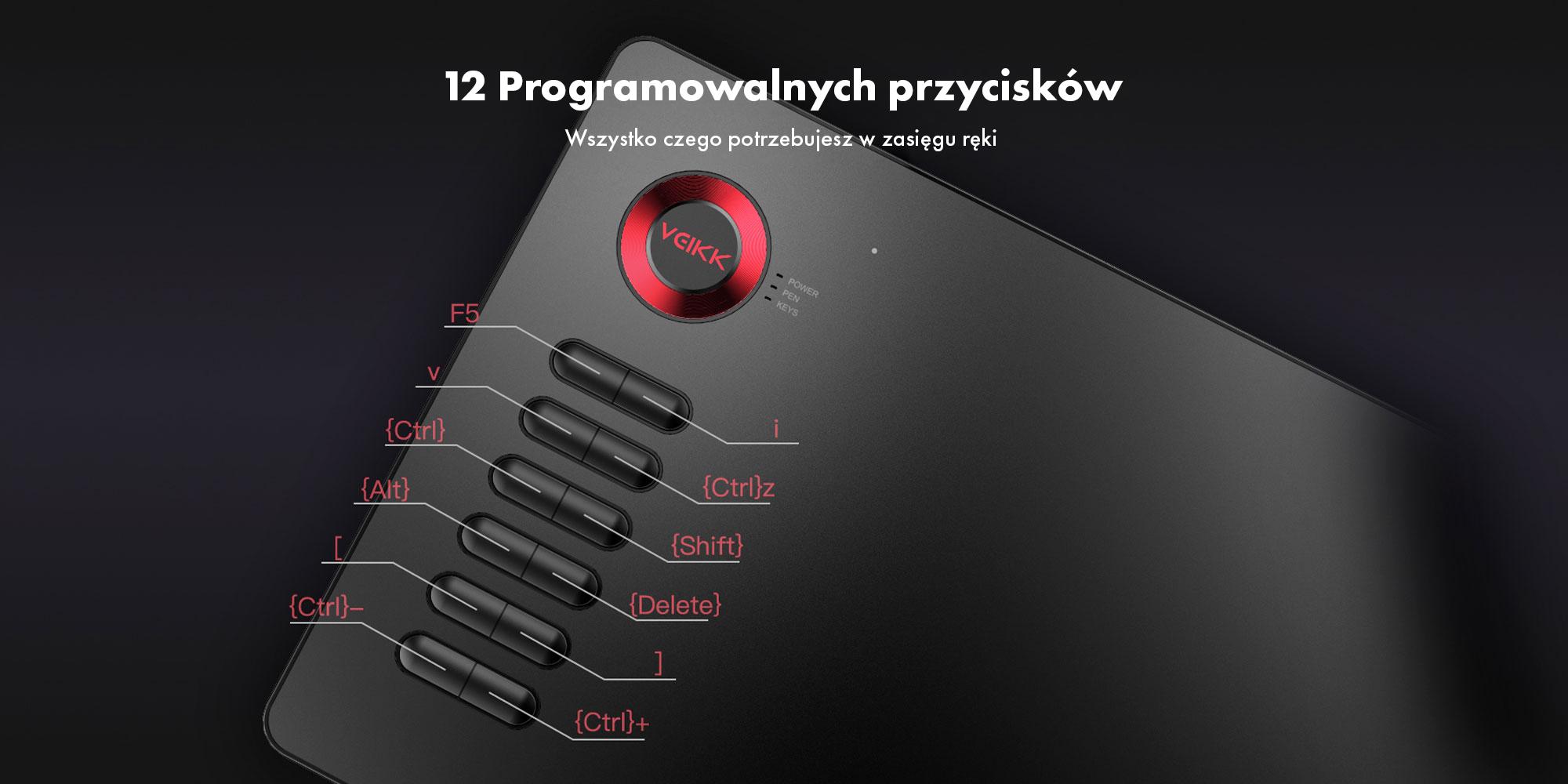 Grafika, na której widać przykładowe przypisanie skrótów klawiszowych do programowalnych przycisków tabletu graficznego Veikk