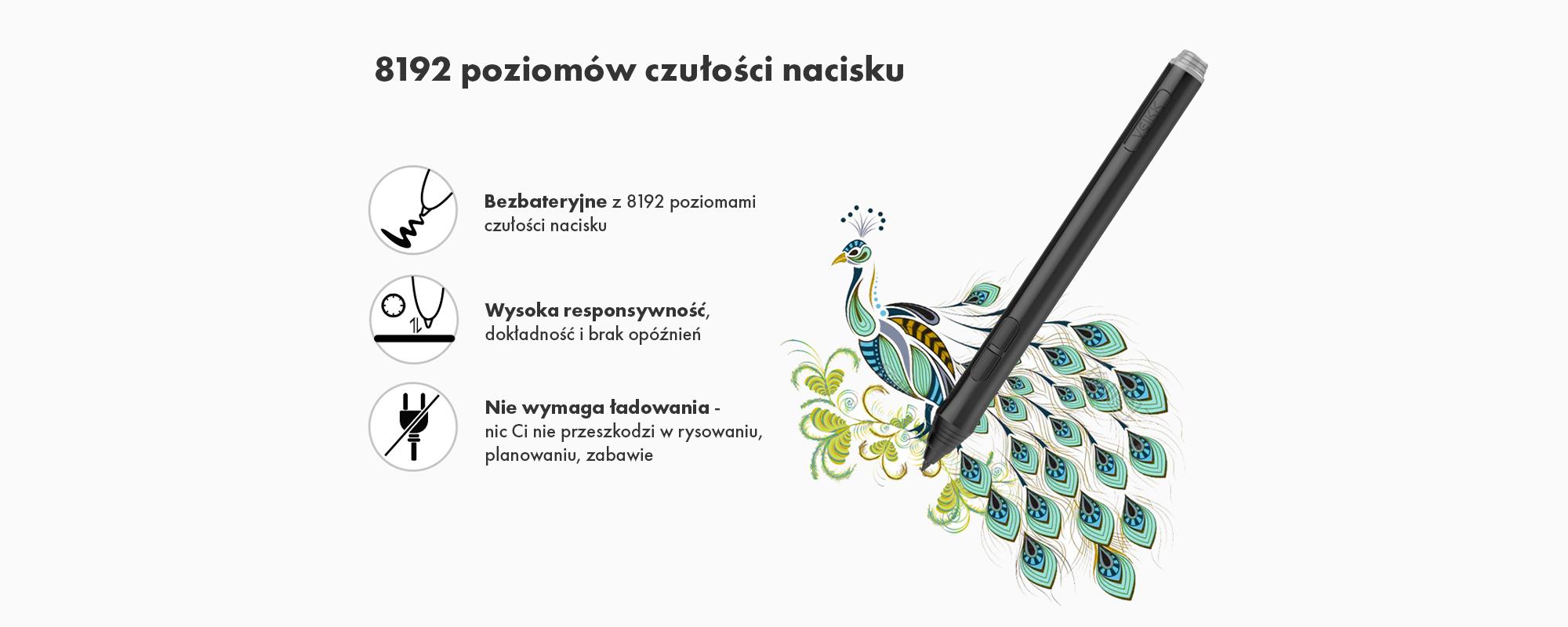 Grafika przedstawiająca cechy piórka pasywnego Veikk