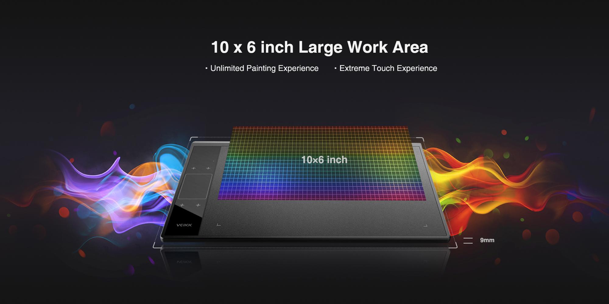 Grafika prezentująca rozmiar aktywnej przestrzeni roboczej tabletu Veikk A30
