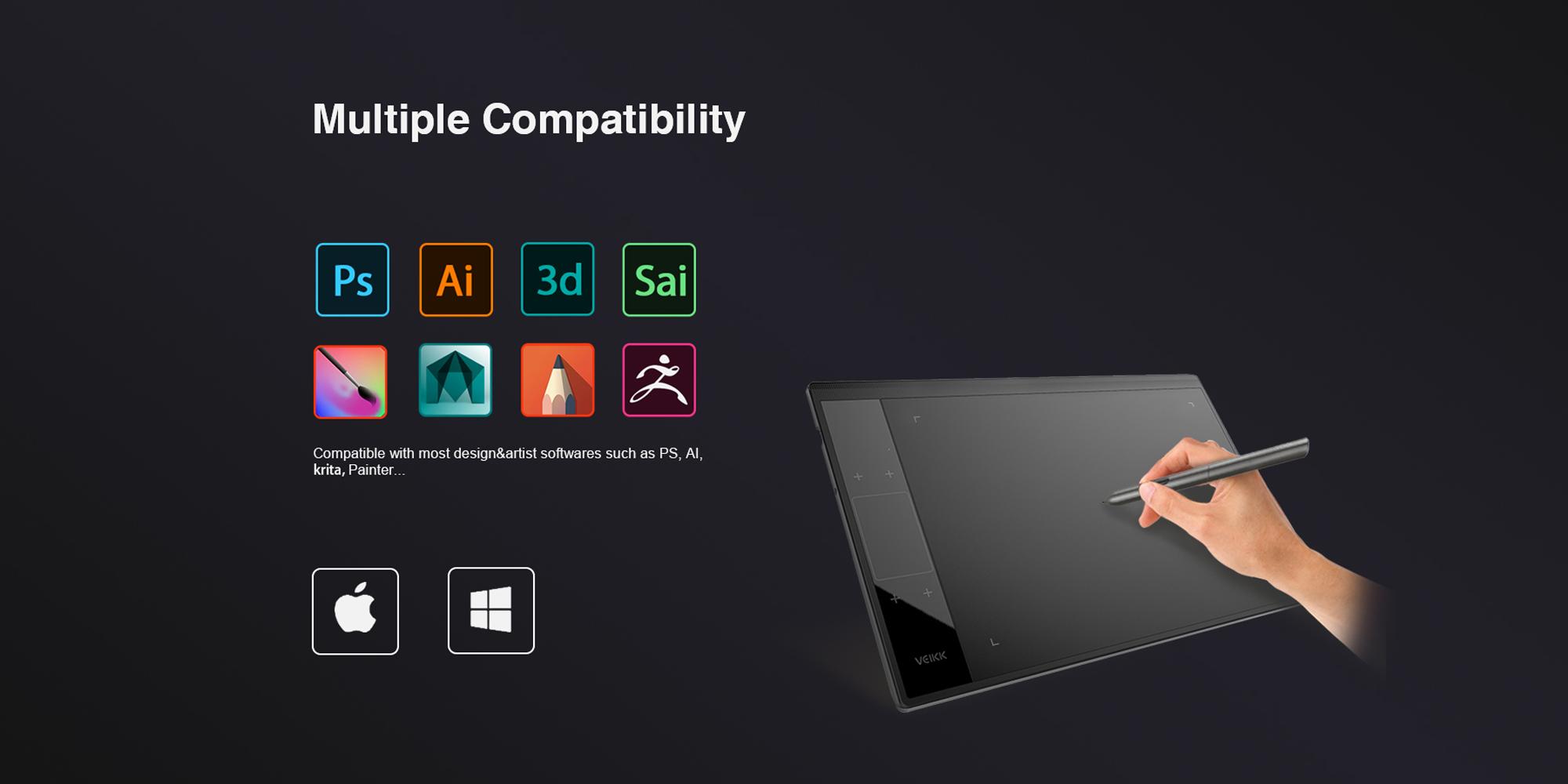 Grafika przedstawiająca listę kompatybilnych z tabletem programów graficznych
