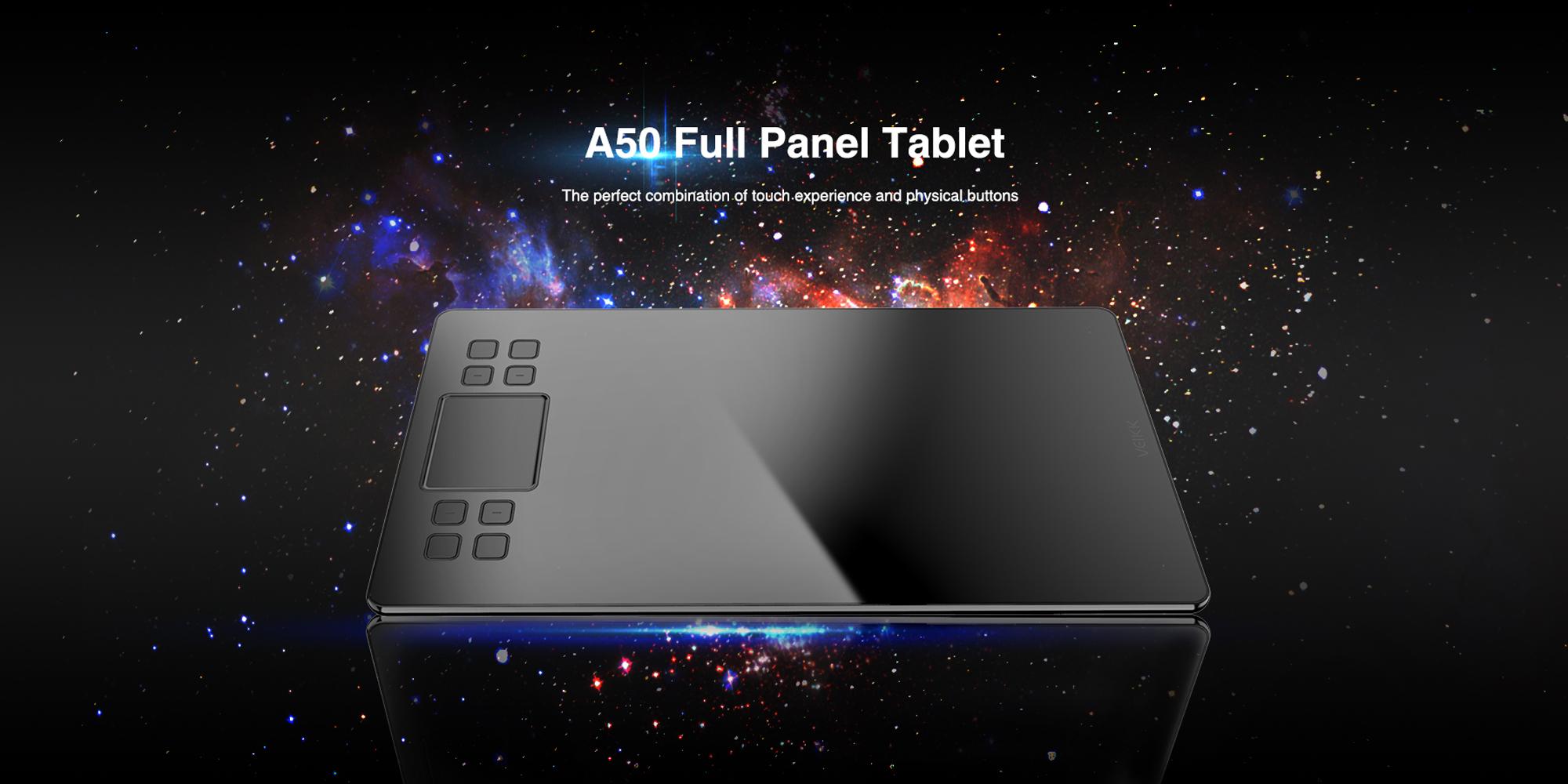 Grafika przedstawiająca tablet Veikk A50 na tle gwiazd