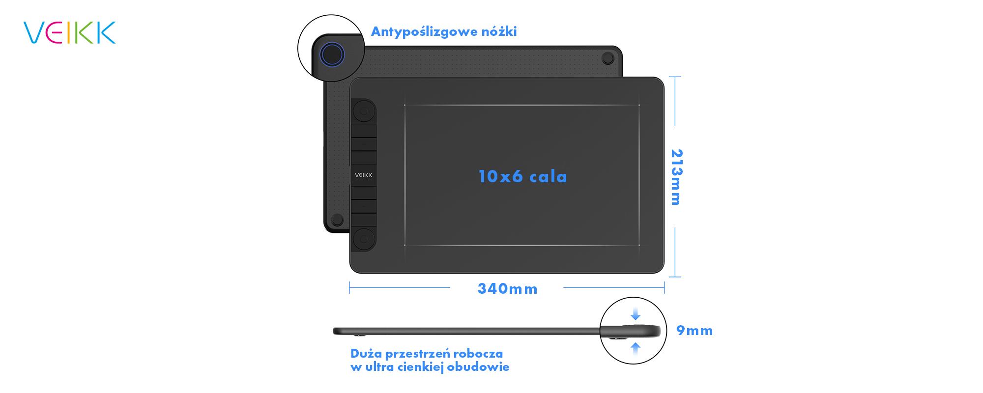 Tablet graficzny Veikk VK1060 Pro - antypoślizgowe nóżki