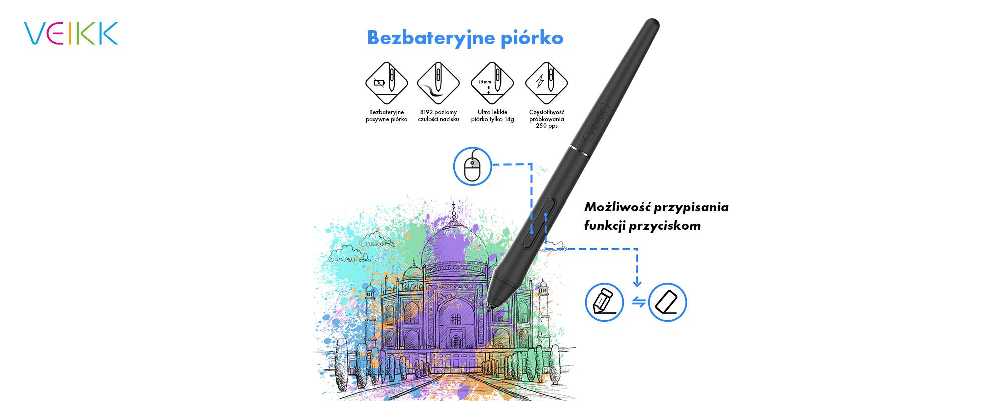 Tablet graficzny Veikk VK1060 Pro - piórko