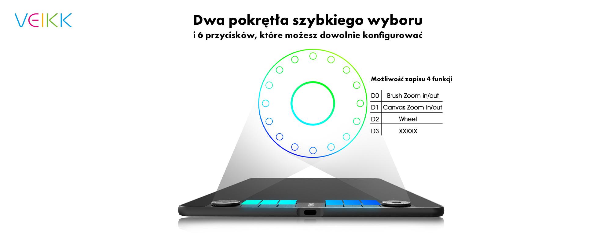 Tablet graficzny Veikk VK1060 Pro - dwa pokrętła szybkiego wyboru