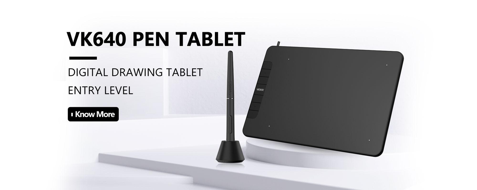 Grafika - tablet graficzny Veikk VK640 wraz z piórkiem pasywnym zaprezentowane na białym tle