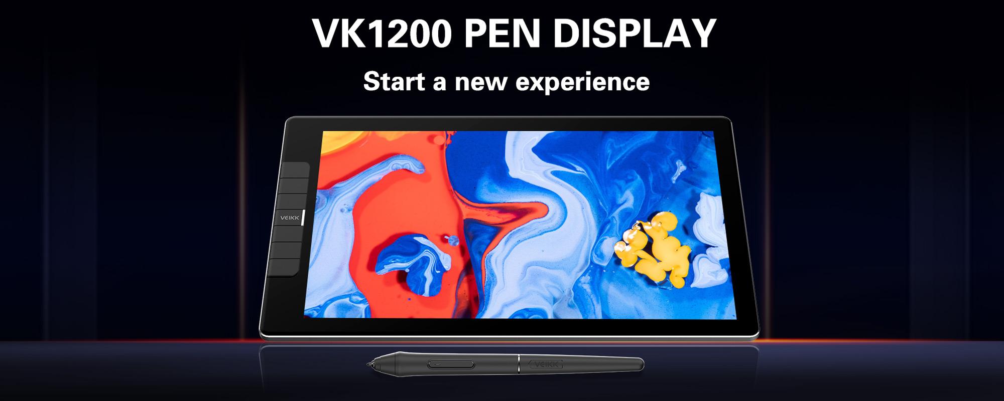 Grafika prezentująca Tablet graficzny z ekranem LCD Veikk VK1200 oraz piórko na czarnym tle