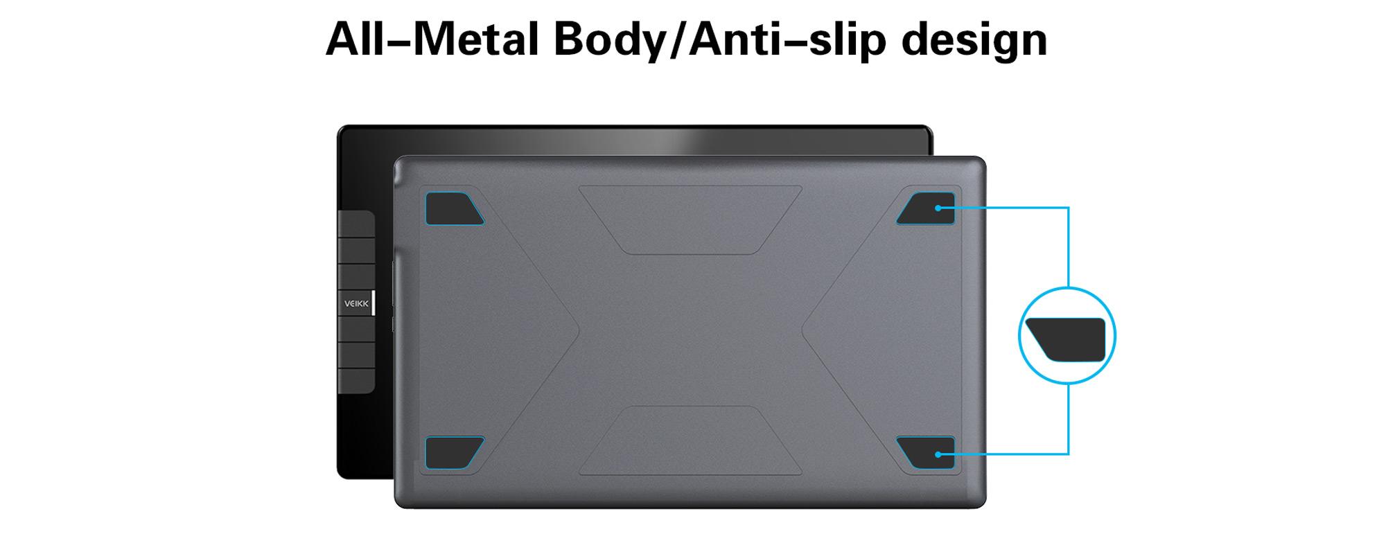 Grafika prezentująca metalową obudowę oraz antypoślizgowe stopki tabletu graficznego z ekranem LCD Veikk VK1200