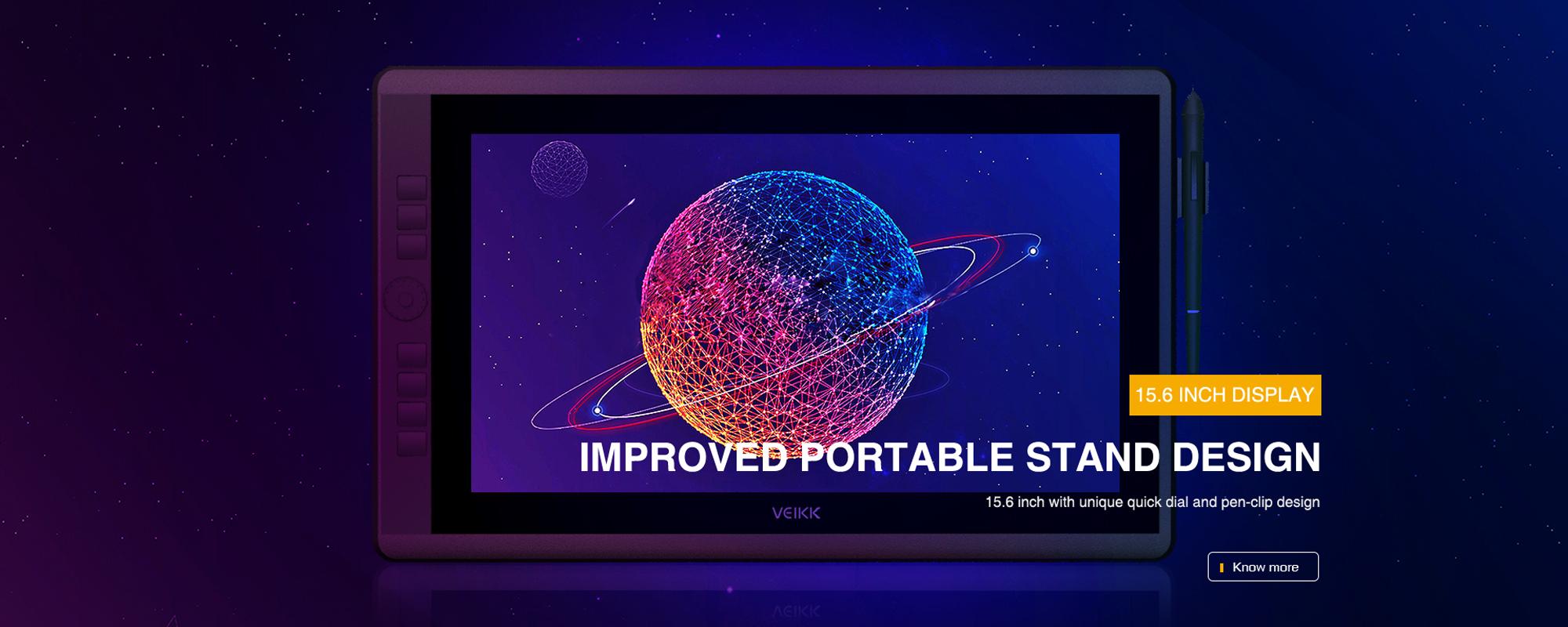 Grafika prezentująca Tablet graficzny z ekranem LCD Veikk VK1560 Pro na granatowym tle