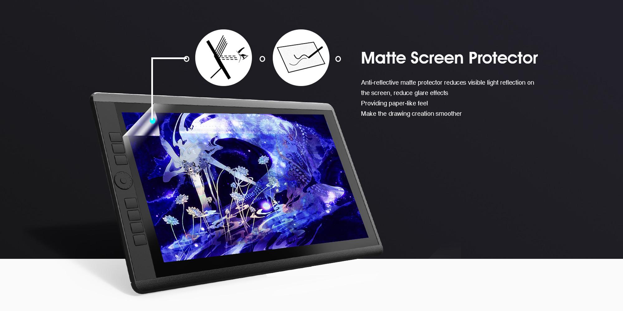 Grafika prezentująca powłokę ochronną ekranu LCD tabletu graficznego Veikk VK1560 Pro