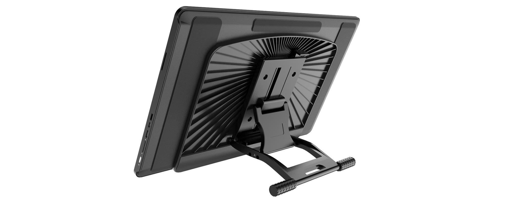 Zdjęcie prezentujące regulowany wspornik tabletu graficznego Veikk VK1560 Pro na białym tle