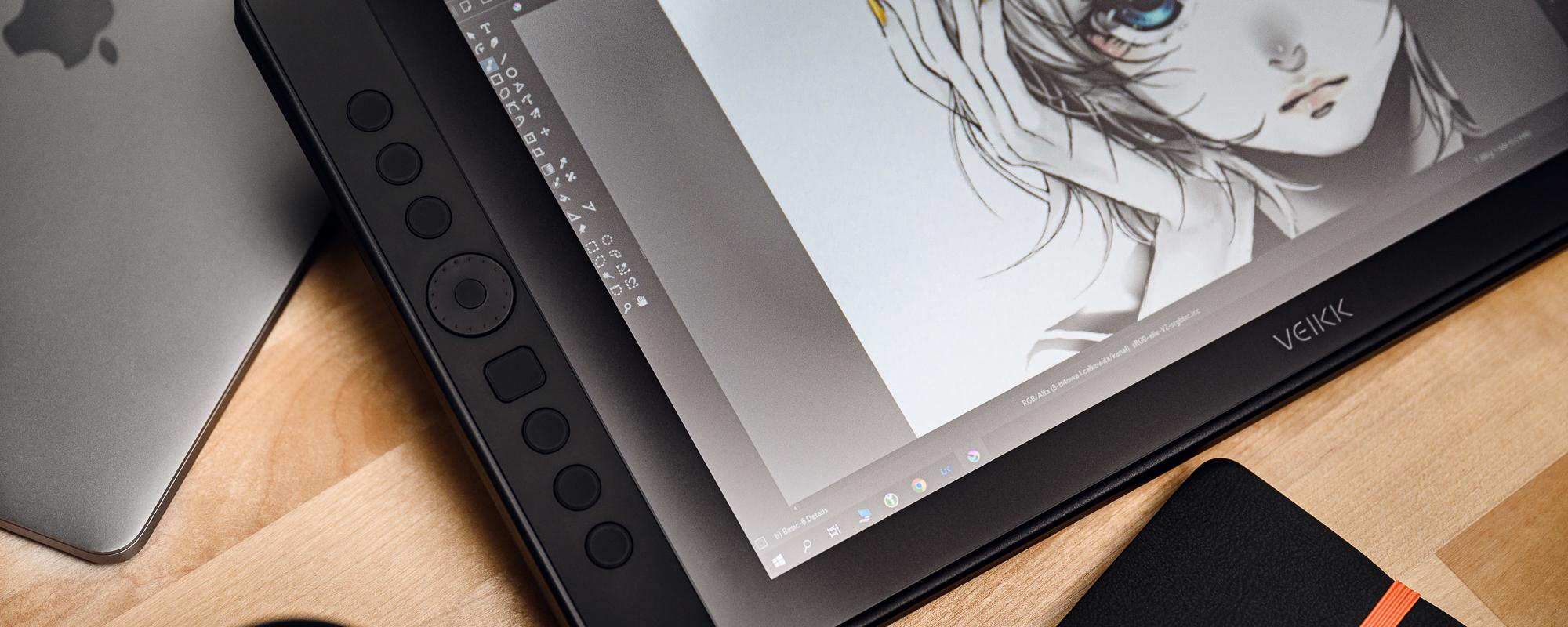 Zdjęcie - zbliżenie na klawisze tabletu z ekranem LCD Veikk VK1560