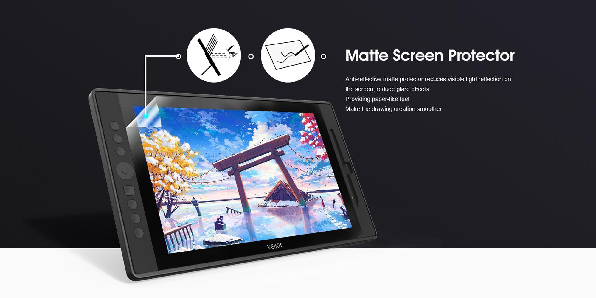 Grafika prezentująca powłokę ochronną ekranu LCD tabletu graficznego Veikk VK1560