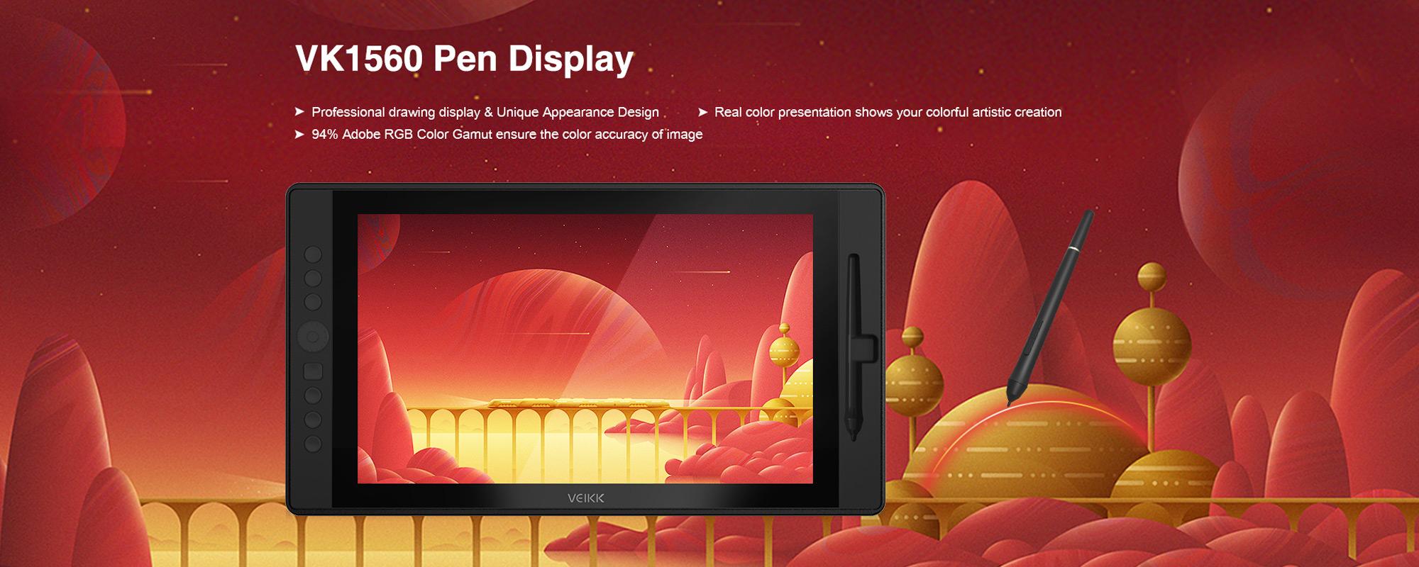 Grafika prezentująca Tablet graficzny z ekranem LCD Veikk VK1560 oraz piórko na czerwonym kosmicznym tle