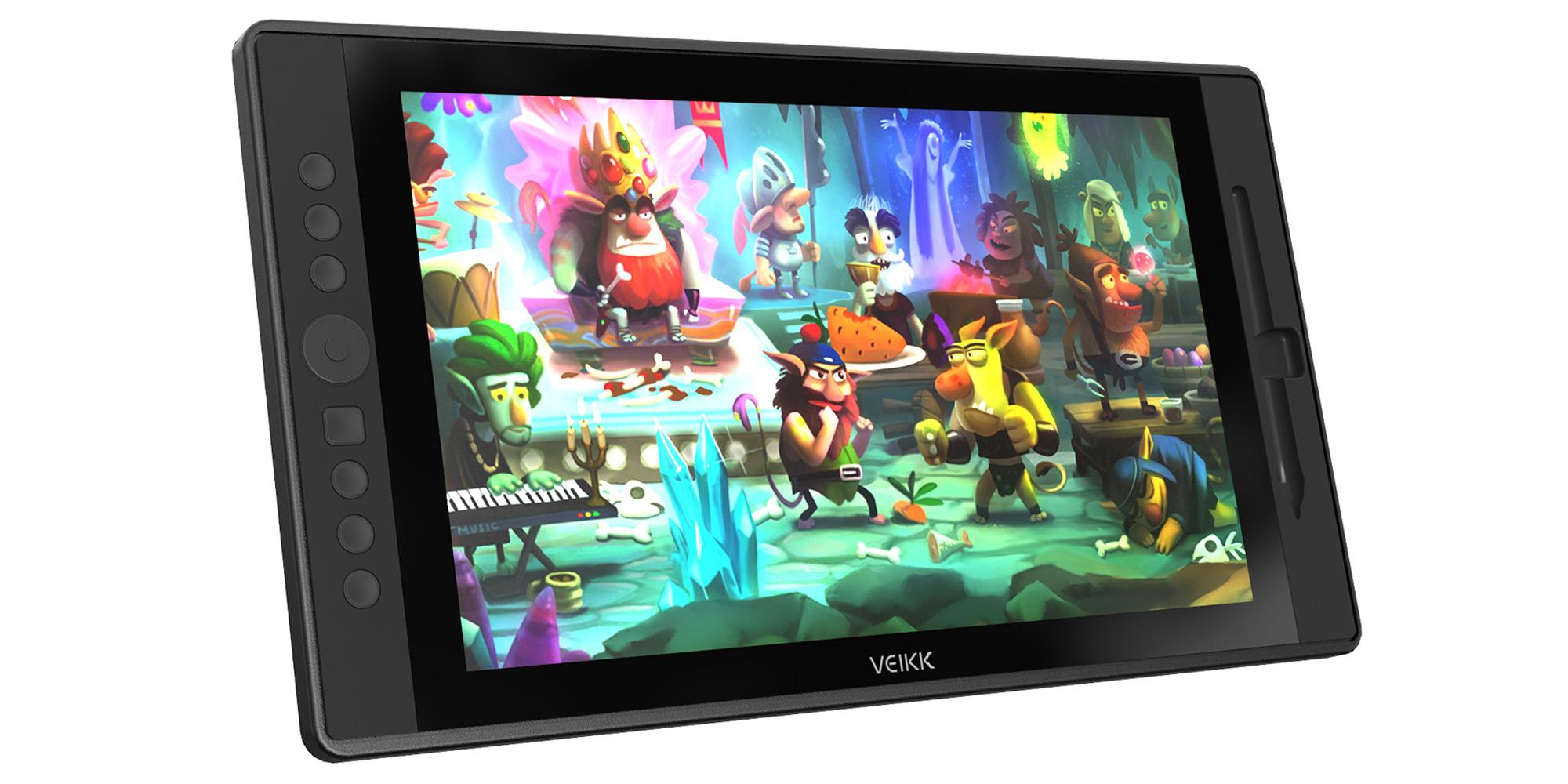 Grafika prezentująca tablet z ekranem LCD Veikk VK1560, na którym wyświetlony jest kolorowy rysunek z bajki