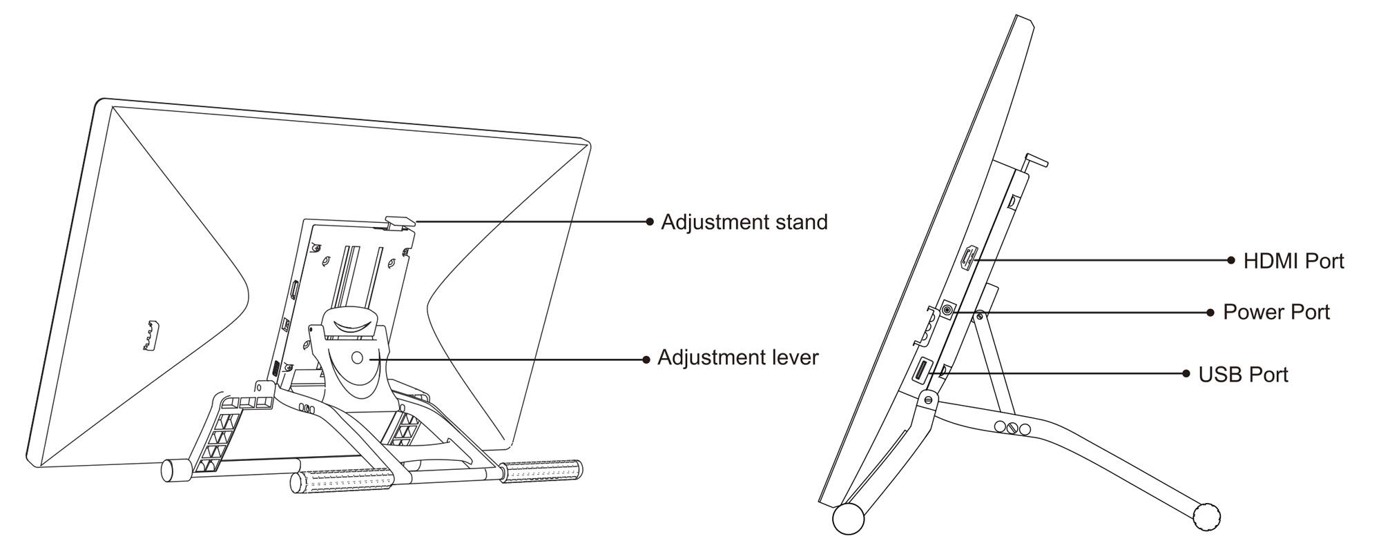 Grafika prezentująca regulowaną podstawkę tabletu graficznego Veikk VK2200 oraz złącza na kable
