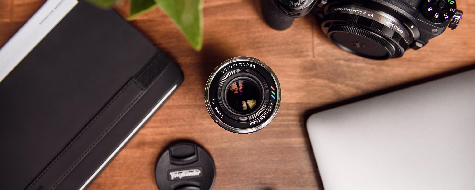 Voigtlander APO Lanthar 50 mm f/2.0 lens for Leica M on desk top