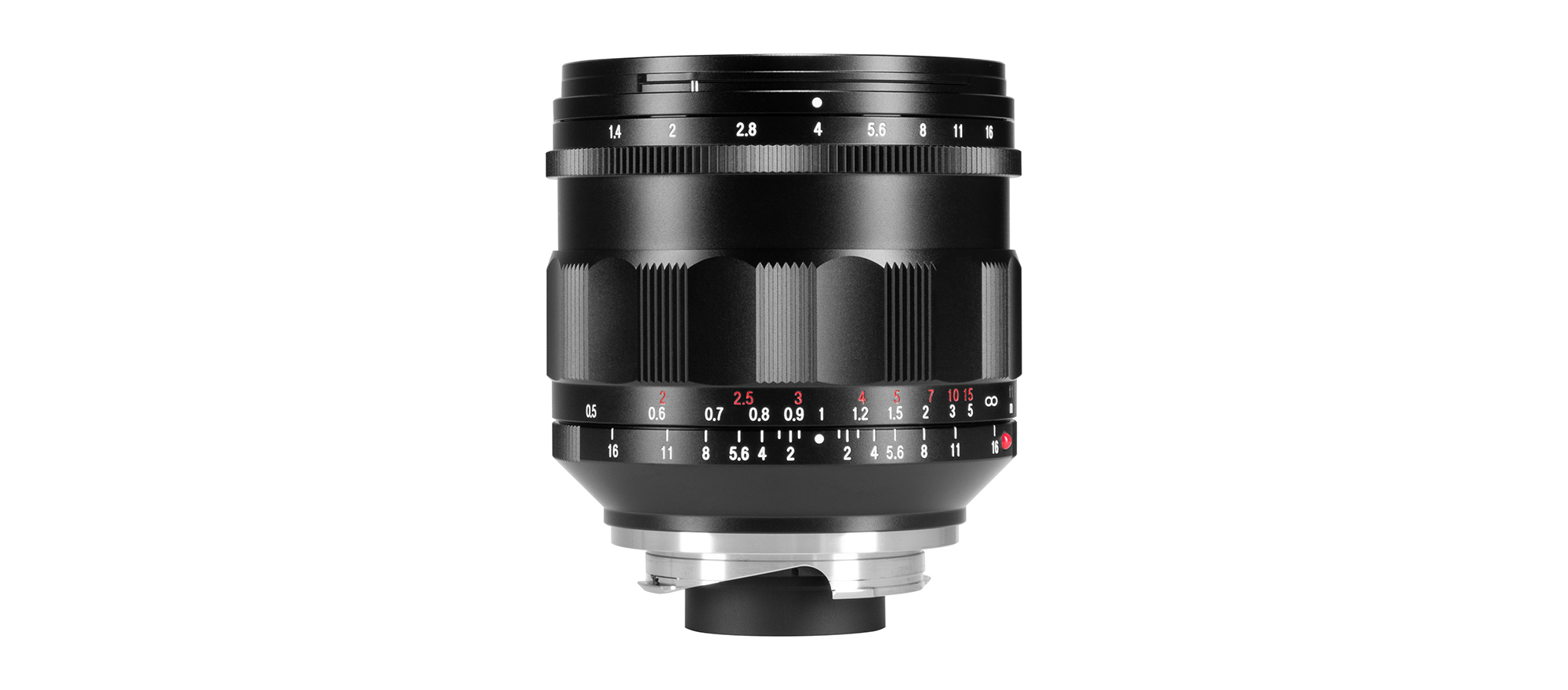 Voigtlander Nokton 21mm f/1.4 lens with Leica M mount seen from the side