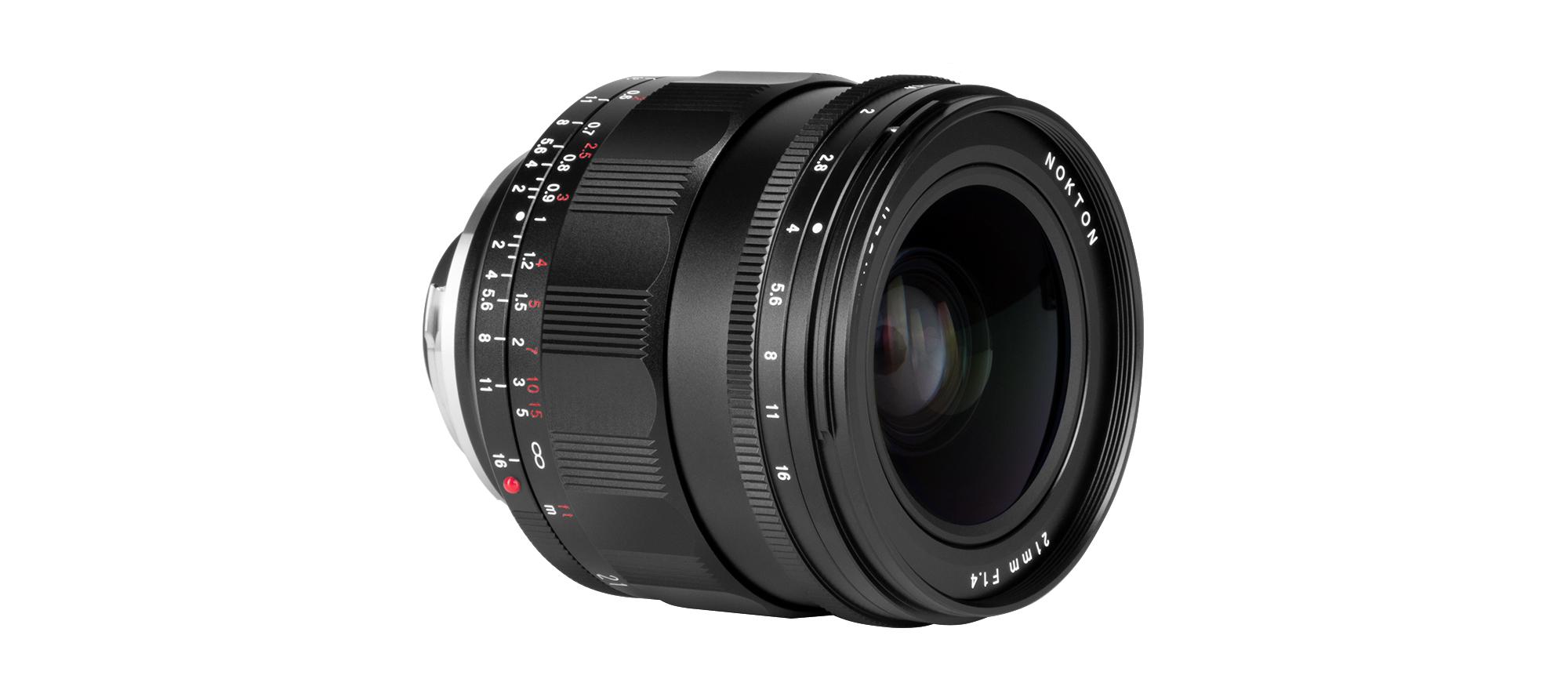 Voigtlander Nokton 21 mm f/1.4 Leica M mount lens seen from the side