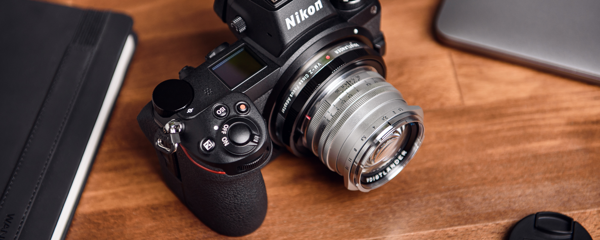 Voigtlander Nokton II 50 mm f/1.5 lens for Leica M - MC, silver on camera