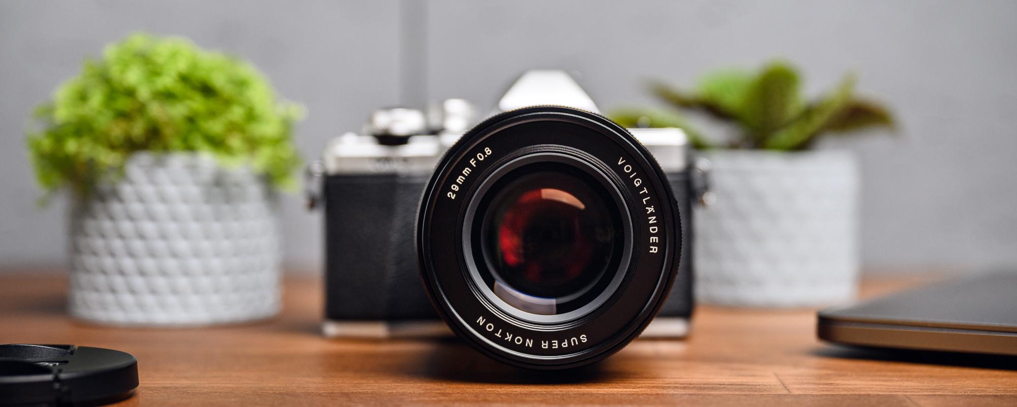 Voigtlander Super Nokton 29mm f/0.8 lens for Micro 4/3 on camera