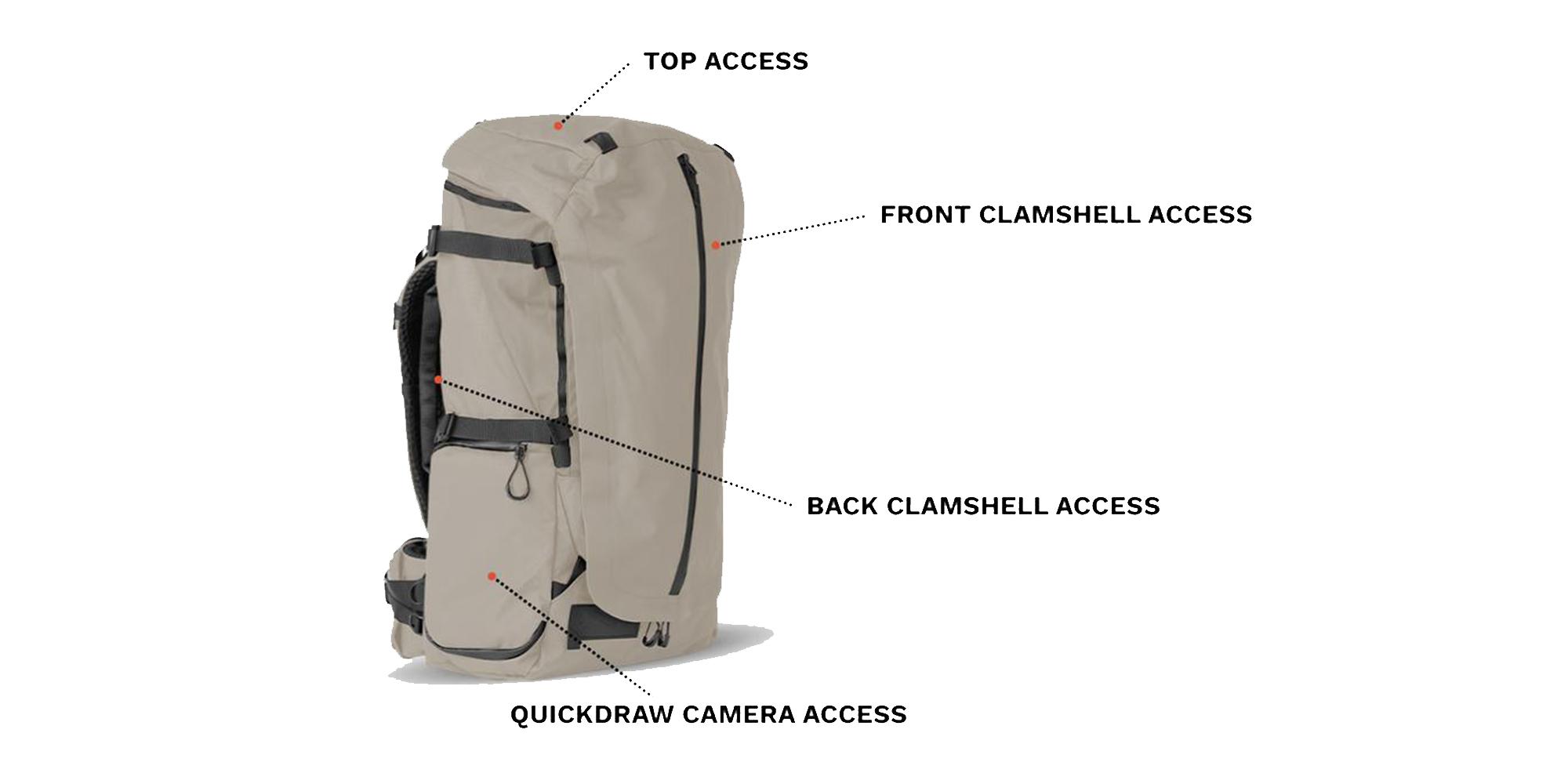 Wandrd Fernweh trekking backpack - access points